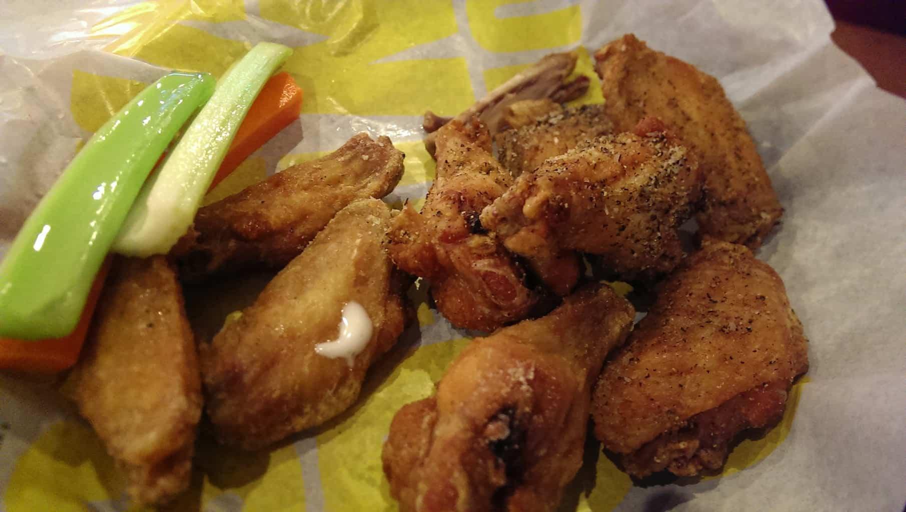 """""""Single"""" serving traditional wings with salt & pepper and salt & vinegar seasonings."""
