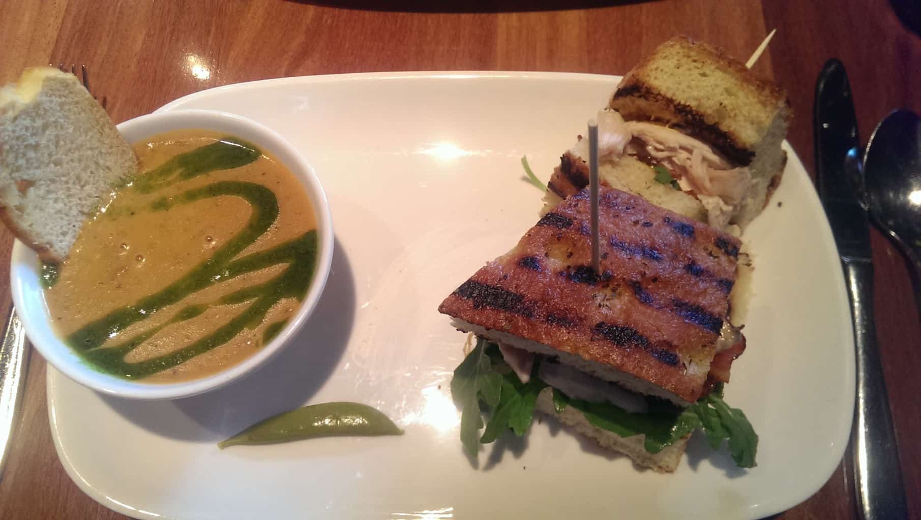 Rotisserie chicken sandwich with daily soup