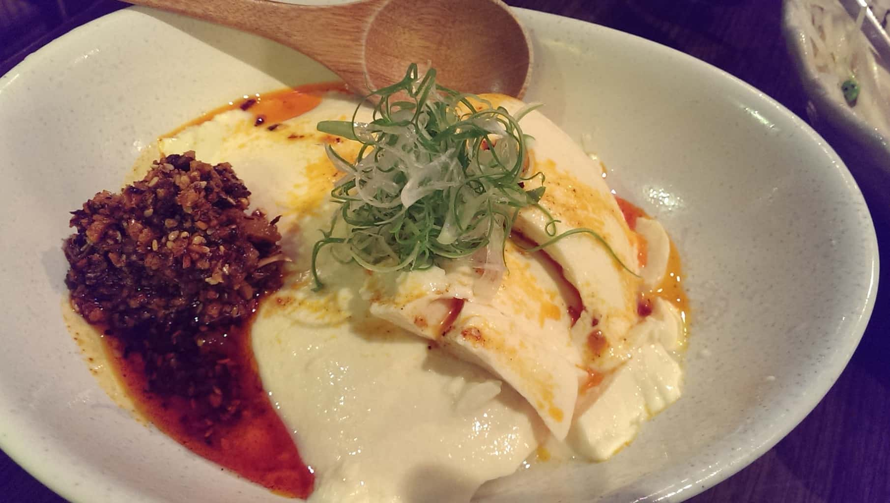 cold tofu with chili oil and poached egg