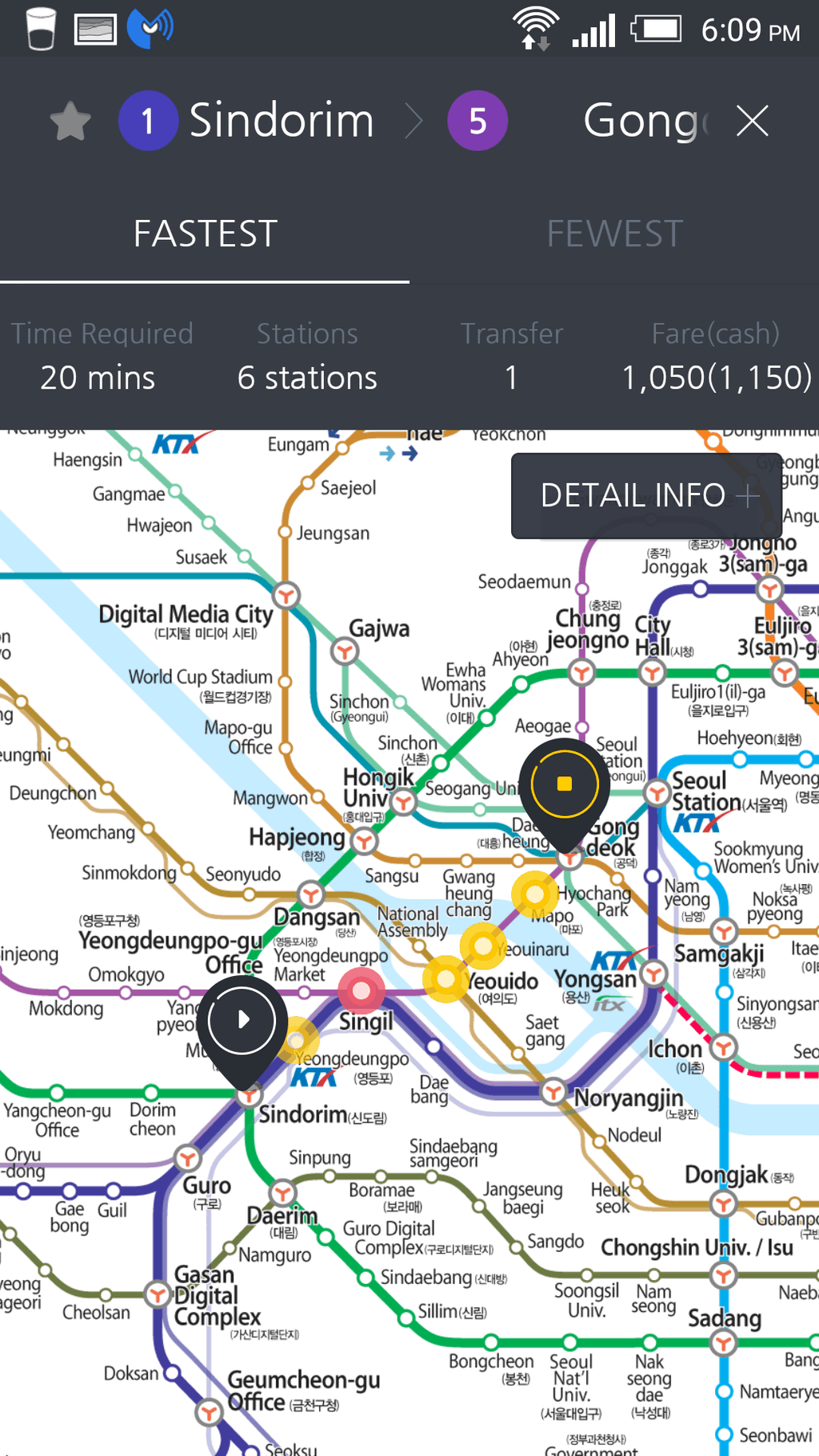 fastest route result on subway korea app