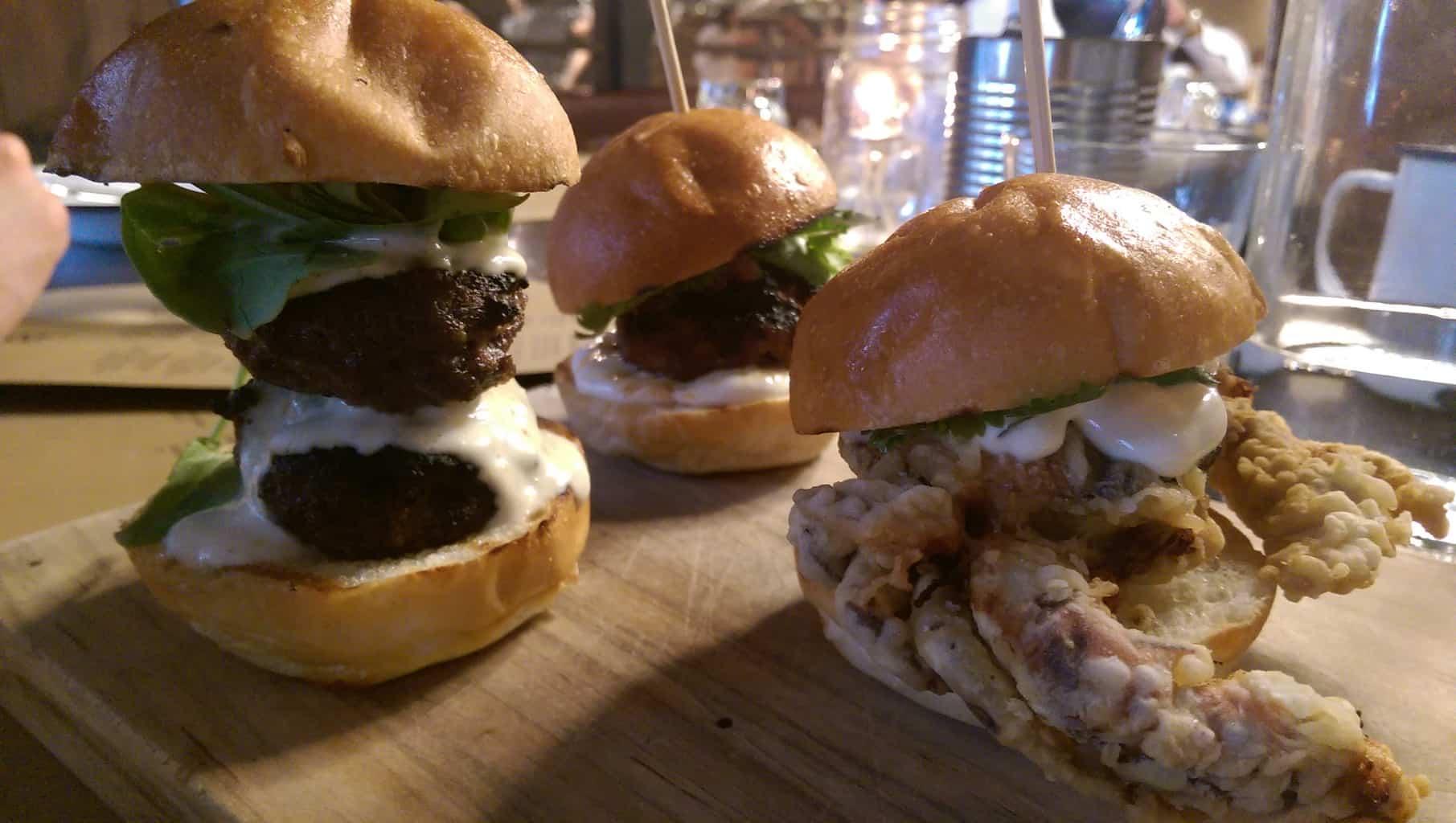 trio sliders (spiced lamb, beef, soft shell crab)