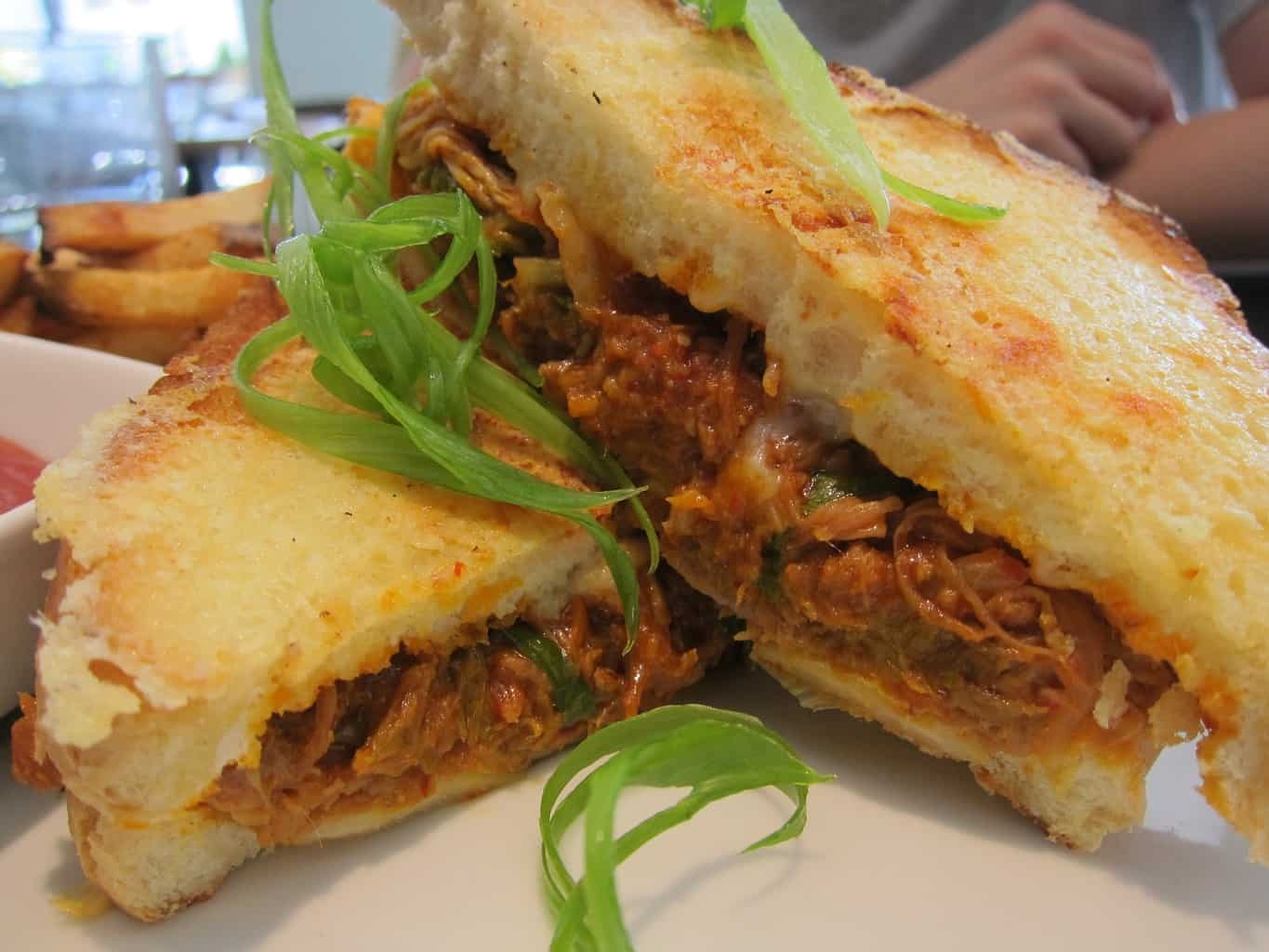 spicy pulled pork grilled cheese