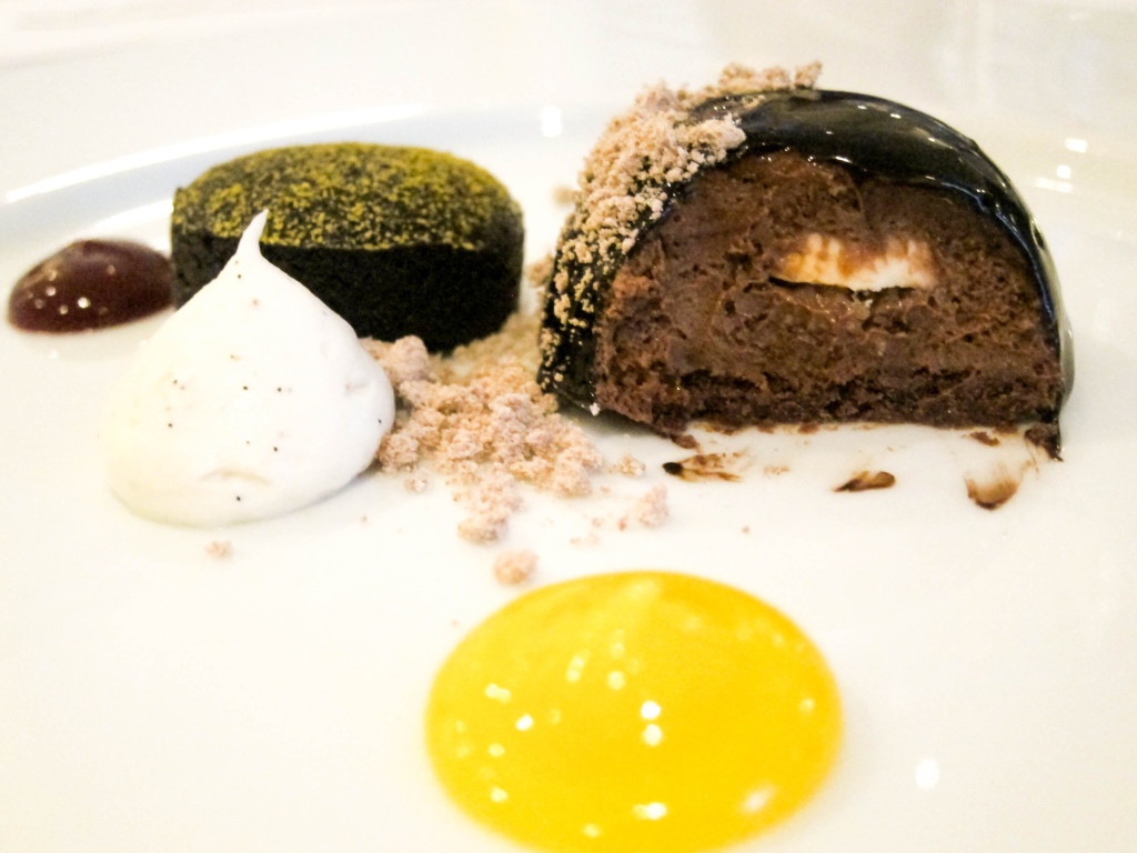 chocolate plaisir, lavender infusion with almond financier