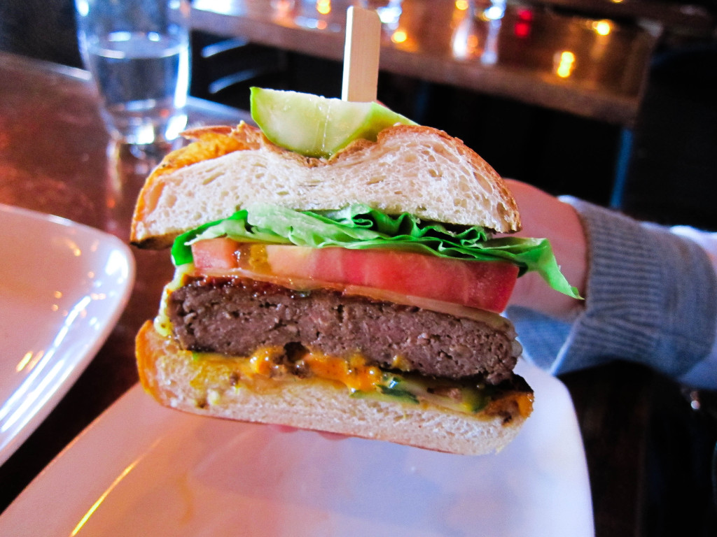 Wagyu Beef Burger, with chilli jack cheese, sweet pepper relish, and sesame bun