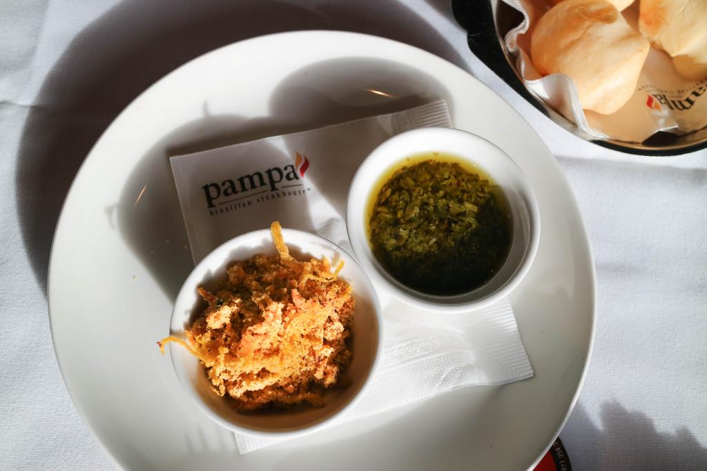 Farofa & chimuchurri at Pampa Brazilian Steakhouse, Calgary, Canada
