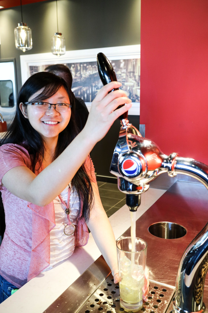 Beverage dispenser at Via Cibo, Calgary, Canada
