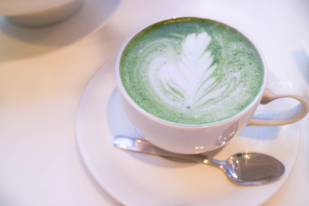 Matcha latte from Alforno bakery cafe, Calgary, Canada