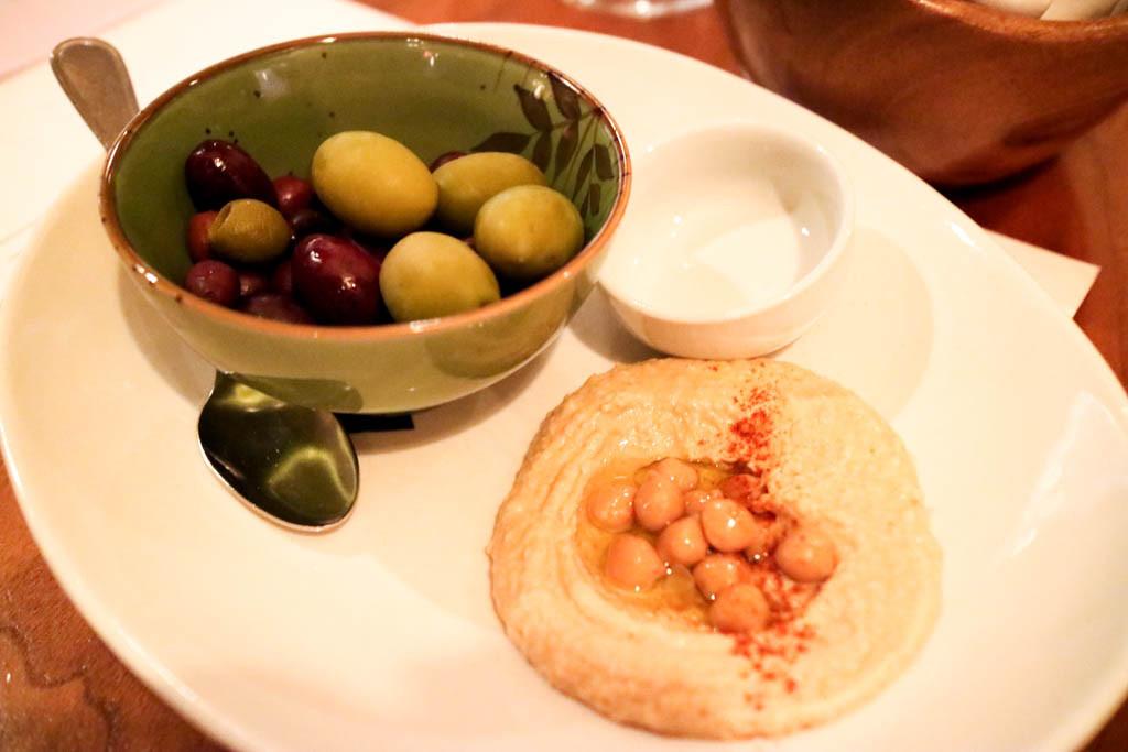 Hummus & olives from Alloy, Calgary, Canada