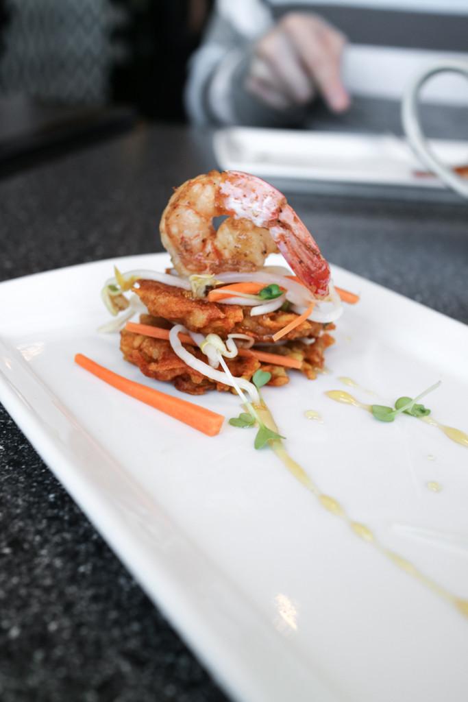 Shrimp fritter from Filipino Tikim Dinner at Brokin Yolk, Calgary