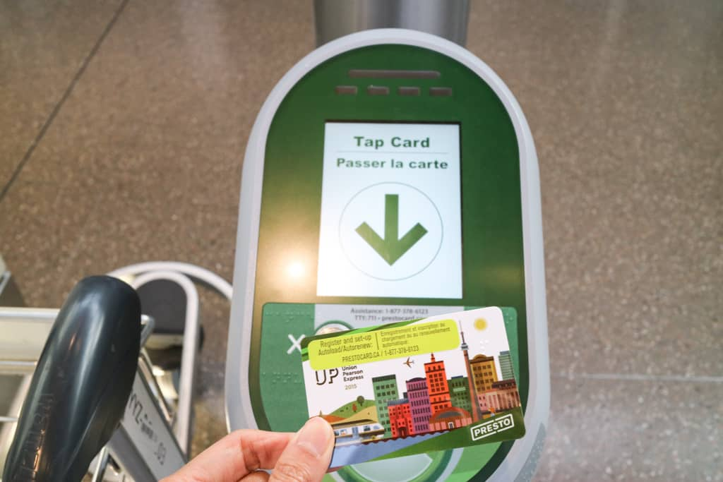 Using PRESTO card for UP Expressto Travel from Pearson Airport to Toronto Downtown