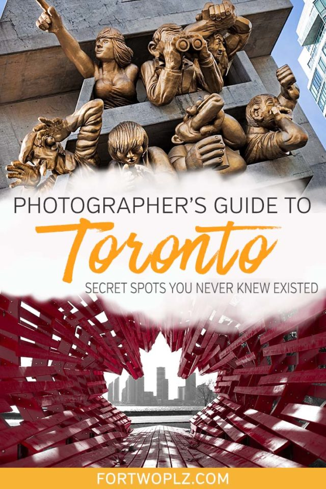 Want to take instagram-worthy photos in Toronto, Ontario and not deal with hordes of people? Then you're in luck! This photographer's guide highlights all the best places to take photos in Toronto, Canada. Besides the iconic landmarks like CN tower, we have included secret spots that you might never know existed! Click through to discover the perfect photo spots in Toronto! #explorecanada #canadatravel