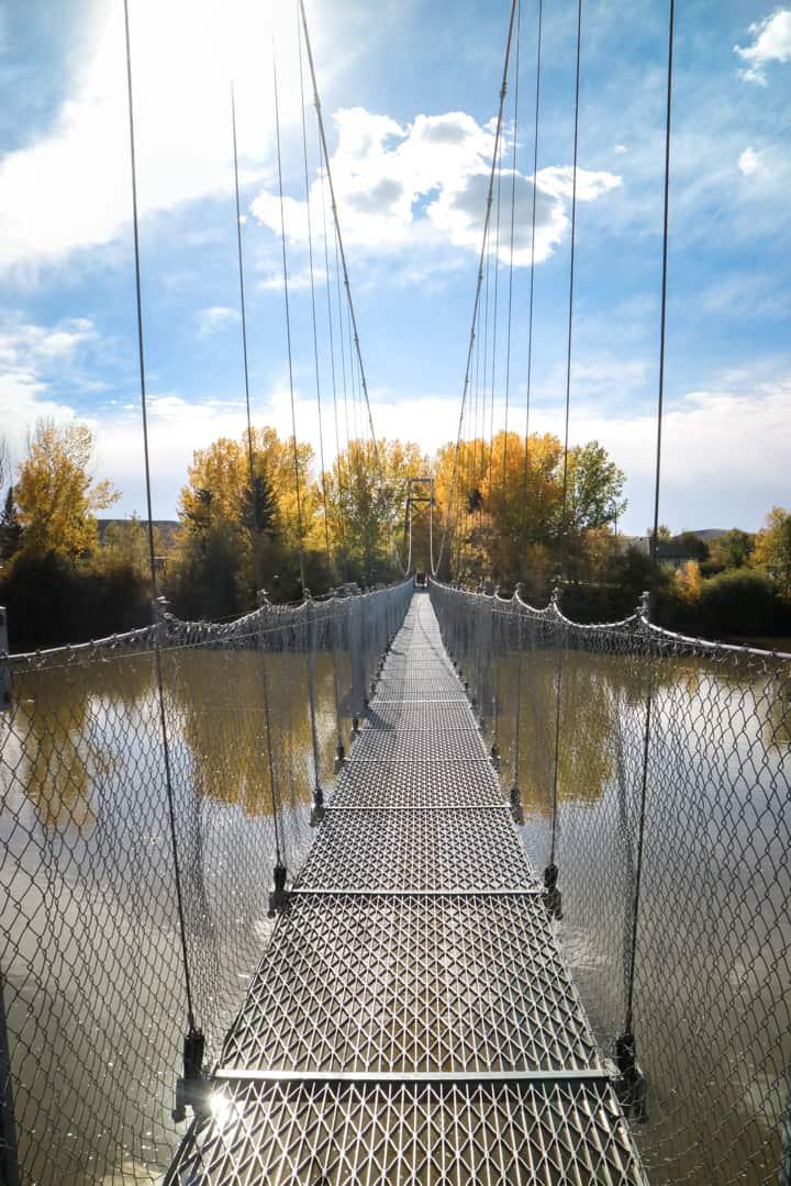 Star Mine Suspension Bridge in Canadian Badlands