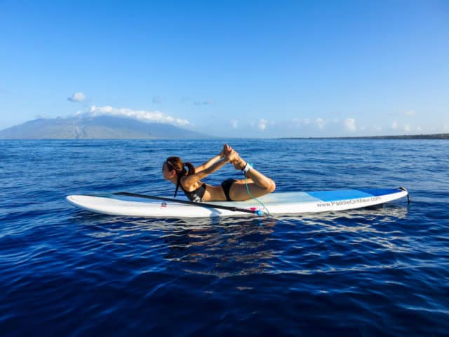 stand up paddle boarding maui hawaii yoga