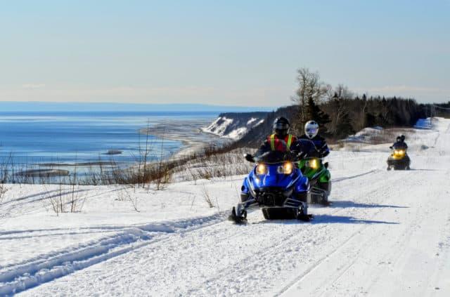 Snowmobilers in Quebec Maritime, Canada
