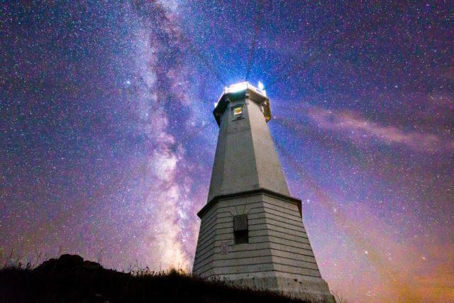 Louisbourg Lighthouse Cape Breton Island Night Sky