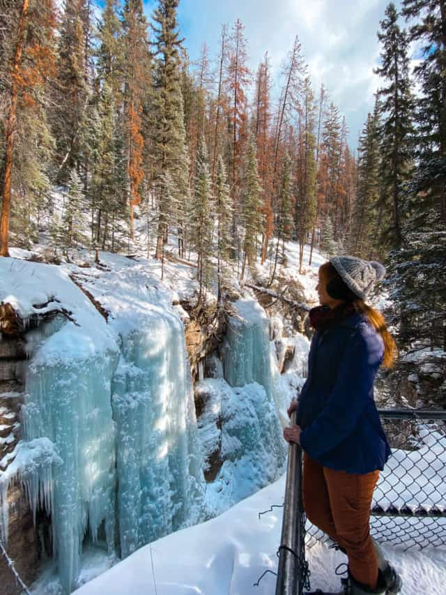 Maligne Canyon Falls Jasper Winter