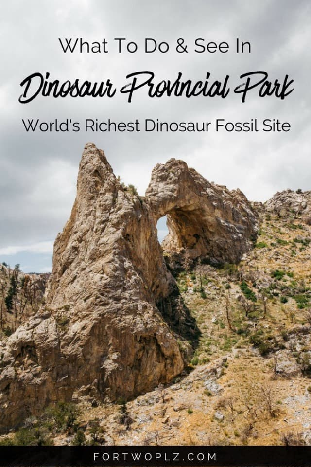 Dinosaur Provincial Park in Alberta, Canada not only has beautiful badlands scenery, but also has the world's richest dinosaur fossil site. This UNESCO World Heritage Site is perfect for glamping, camping, hiking and outdoor activities. Click through to read more. #alberta #drumheller #Canada #roadtrip #travelcanada#travelguide#tripplanning#traveltips#itinerary#thingstodo#traveldestinations #summertravels #instagramspots #photospots #adventure #adventureseeker #bucketlist #adventuretravel