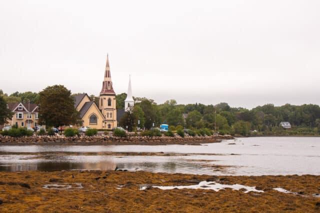 The famous trio churches at Mahone Bay Nova Scotia