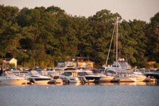Boats at the shore near Oak Island Nova Scotia