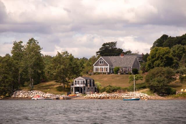 View of Oak Island Nova Scotia from a boat