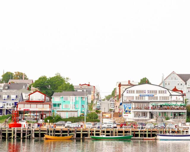 view of old town lunenburg from the ocean