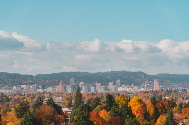 View of Portland Oregon in the Fall