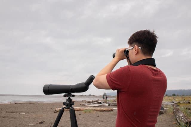 birdwatching at Iona Beach Regional Park, BC